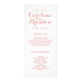 Classic Script | Coral Pink Wedding Programs Rack Card