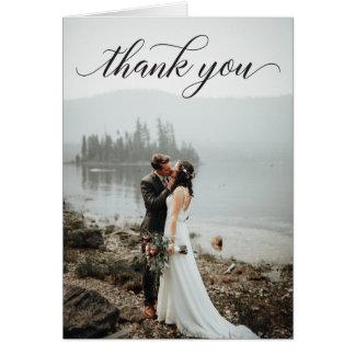 Classic Script Photo Wedding Folded Thank You Card