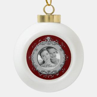Classic Scrolls Photo Frame (Silver) Ceramic Ball Christmas Ornament