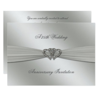 Classic Silver 25th Wedding Anniversary 5x7 Invite