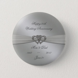 Classic Silver 25th Wedding Anniversary Button
