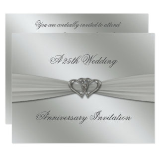 Classic Silver 25th Wedding Anniversary Invite