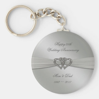 Classic Silver 25th Wedding Anniversary Keychain