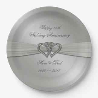 Classic Silver 25th Wedding Anniversary Plates