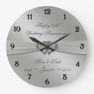 Classic Silver 25th Wedding Anniversary Wall Clock