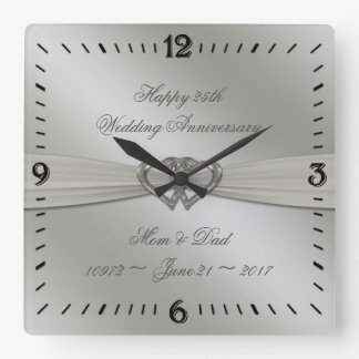 Classic Silver 25th Wedding Anniversary Wall Clock