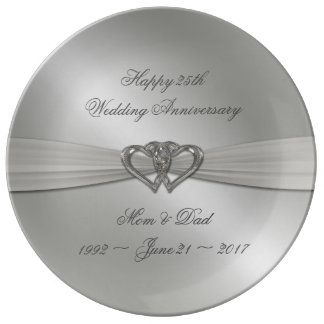 Classic Silver Wedding Anniversary Porcelain Plate