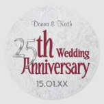 Classic Silver Wedding Anniversary Round Stickers