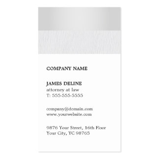 Classic Simple Elegant Silver White Attorney Pack Of Standard Business Cards