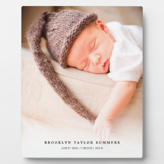 Classic Simple White Gradient New Baby Photo Easel Display Plaque