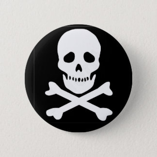 classic skull and crossbones 6 cm round badge