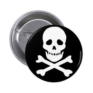 classic skull and crossbones pinback button