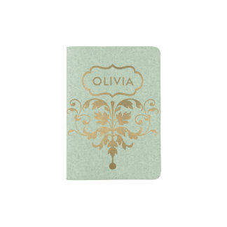 CLASSIC SKY PALE  BLUE GOLD FELT DAMASK MONOGRAM PASSPORT HOLDER