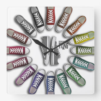 Classic Sneakers Circle Square Wall Clock