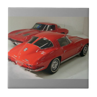 Classic Split Window Red Corvette Tile