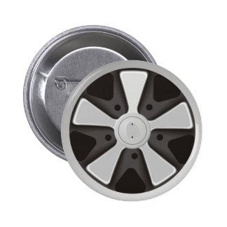 Classic sports car racing wheel used on 911 6 cm round badge