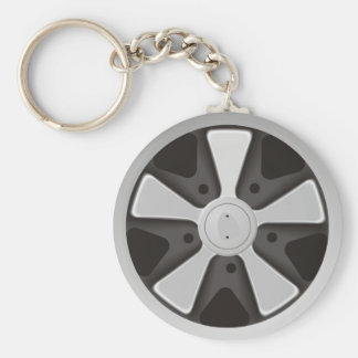 Classic sports car racing wheel used on 911 key ring