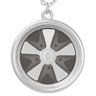 Classic sports car racing wheel used on 911 silver plated necklace
