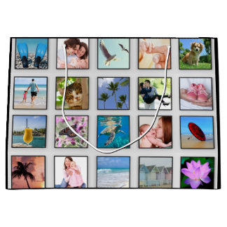Classic Square Frame Photo Collage Large Gift Bag