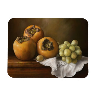 Classic still life with persimmons and grape magnet
