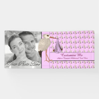 Classic Stork (Baby on the Way) Pink 2 Banner