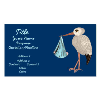 Classic Stork (Blue) (Baby Shower) Business Card