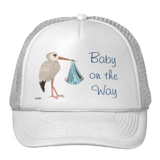 Classic Stork (Blue) (Baby Shower) Cap
