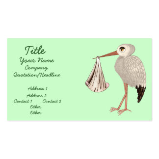 Classic Stork (Neutral) 1 (Baby Shower) Business Card Template