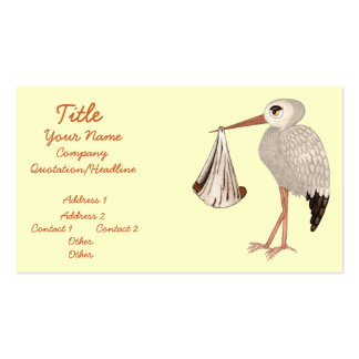 Classic Stork (Neutral) 2 (Baby Shower) Business Card Template