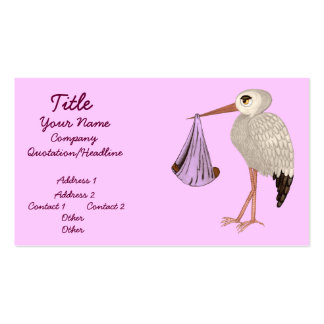 Classic Stork (Pink) 2 (Baby Shower) Business Card