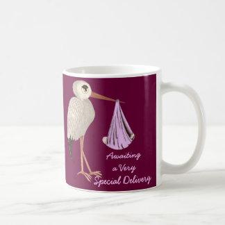 Classic Stork (Pink) (Baby Shower) Mugs