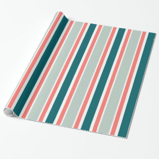 Classic Striped Blue & Red Wrapping Paper