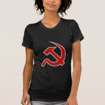 Classic Style Red & Grey Hammer & Sickle on Black Tee Shirts