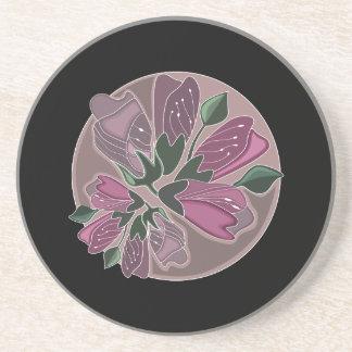 Classic Stylish Black and Pink Flower Print Coaster