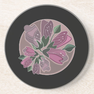 Classic Stylish Black and Pink Flower Print Drink Coasters
