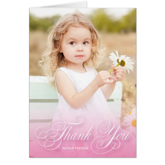 Classic Swirly Script Pink With Photo | Thank You Card