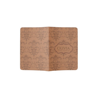 CLASSIC TAN LEATHER DAMASK DESIGN MONOGRAM PASSPORT HOLDER