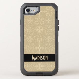 Classic Taupe Print with Black Stripe Personalized OtterBox Defender iPhone 8/7 Case