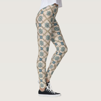 Classic teal, blue and yellow leggings