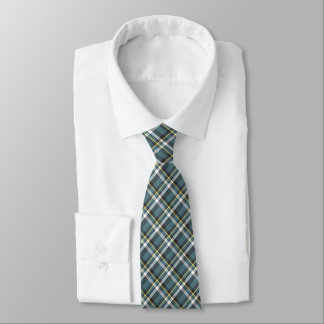 Classic Teal Blue Yellow Gray Tartan Plaid Pattern Tie