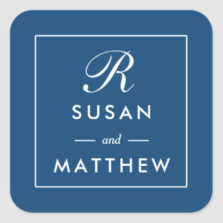 Classic Thin Border Monogram Sticker, Navy Blue Square Sticker