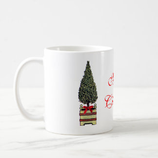 Classic Topiary Merry Christmas Tree with Red Bow Basic White Mug