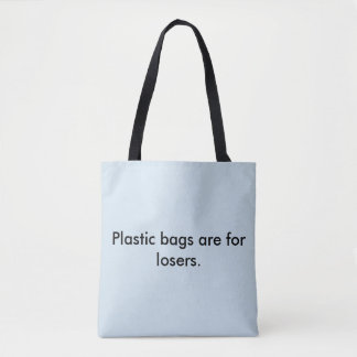 Classic tote bag. Lt blue with black lettering.