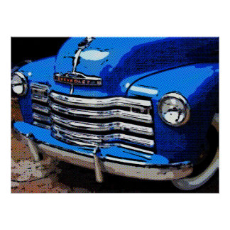 Classic Truck Art Print, Old Blue Chevy Truck Poster