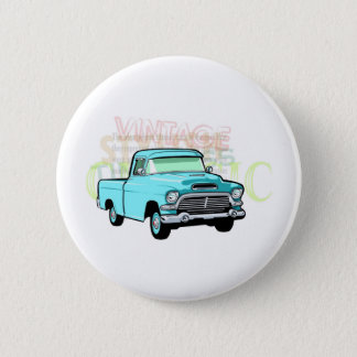 Classic truck in blue, very old turquoise pickup 6 cm round badge