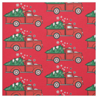 Classic Truck with Christmas Tree in the Snow Fabric