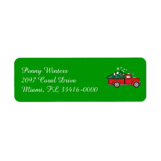 Classic Truck with Holiday Tree in the Snow Return Address Label