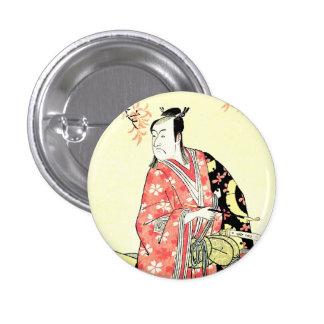 Classic ukiyo-e Traditional Japanese Samurai art 3 Cm Round Badge