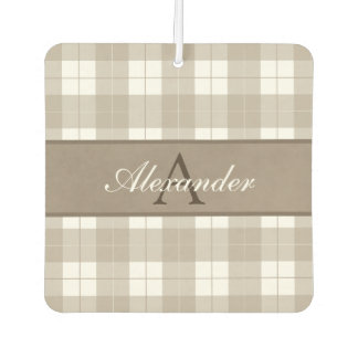 * Classic Umber Brown Plaid and Mottled Name Band Car Air Freshener
