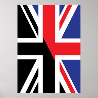 Classic Union Jack British(UK) Flag with Black & W Poster